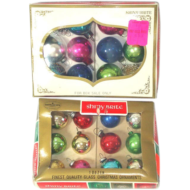 2 Boxes Shiny Brite Miniature Feather Tree Christmas Ornaments