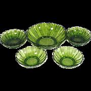 Anchor Hocking Country Garden Avocado Glass 7 Pc Salad Bowls Set