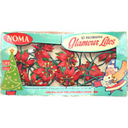 Noma 1950s Glamour Lites Plastic Poinsettia Christmas Light String