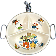 Uncle Wiggily 1924 Child's Baby Feeding Dish Bowl Cat Finial