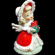 Lefton Spaghetti Christmas Angel Bell Big Bonnet