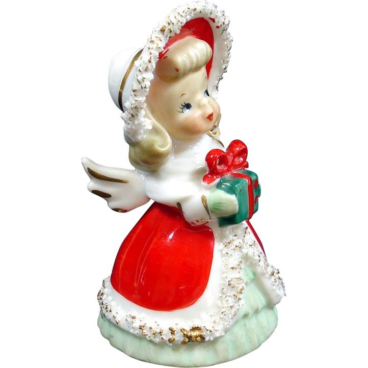 Lefton Spaghetti Christmas Angel Bell Big Bonnet