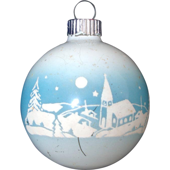 Shiny Brite Unsilvered Village Church Scene Christmas Ornament
