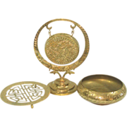 Brass Collectibles Lot Dinner Gong, Bowl, Trivet