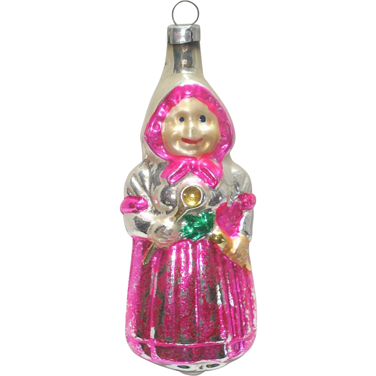 Peasant Woman With Spoon Glass Christmas Ornament