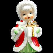 Enesco 1960s Christmas Red Hood Angel Figurine