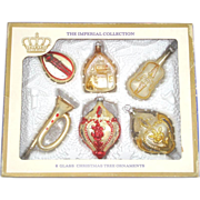Box Imperial Collection 1960s Figural Glass Christmas Ornaments
