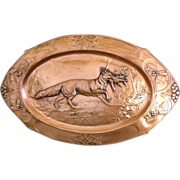 Fox With Prey Antique Copper Relief Wall Plaque