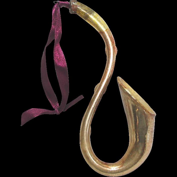 Antique Blown Glass Saxophone Horn Christmas Ornament