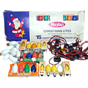 Christmas Outdoor C-9 Light String and Bulbs Lot