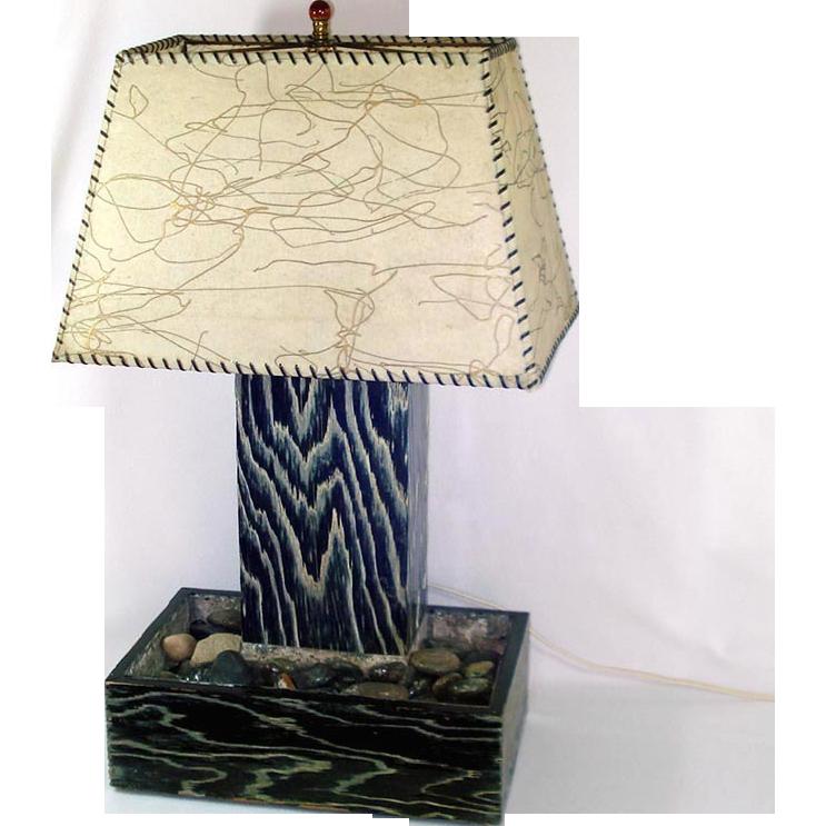 1950s Eames Era Flame Stripe Planter Lamp Fiberglass Shade