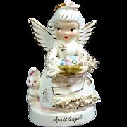 Napco April Birthday Angel Figurine With Bunny