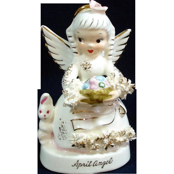 Napco April Birthday Angel Figurine With Bunny Copperton