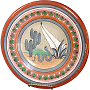 Mexican Tonala Burnished Folk Art Snake Charger Plate