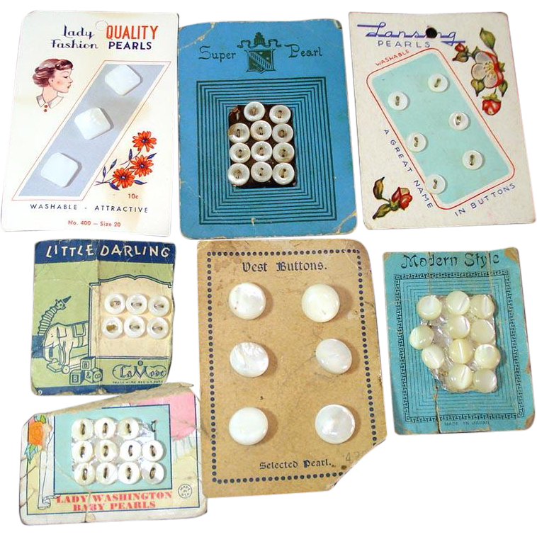 7 Cards Vintage Antique Mother of Pearl Buttons
