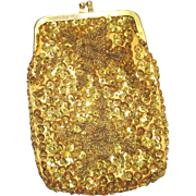Shimmery Gold Beaded Sequined Evening Bag Cigarette Purse