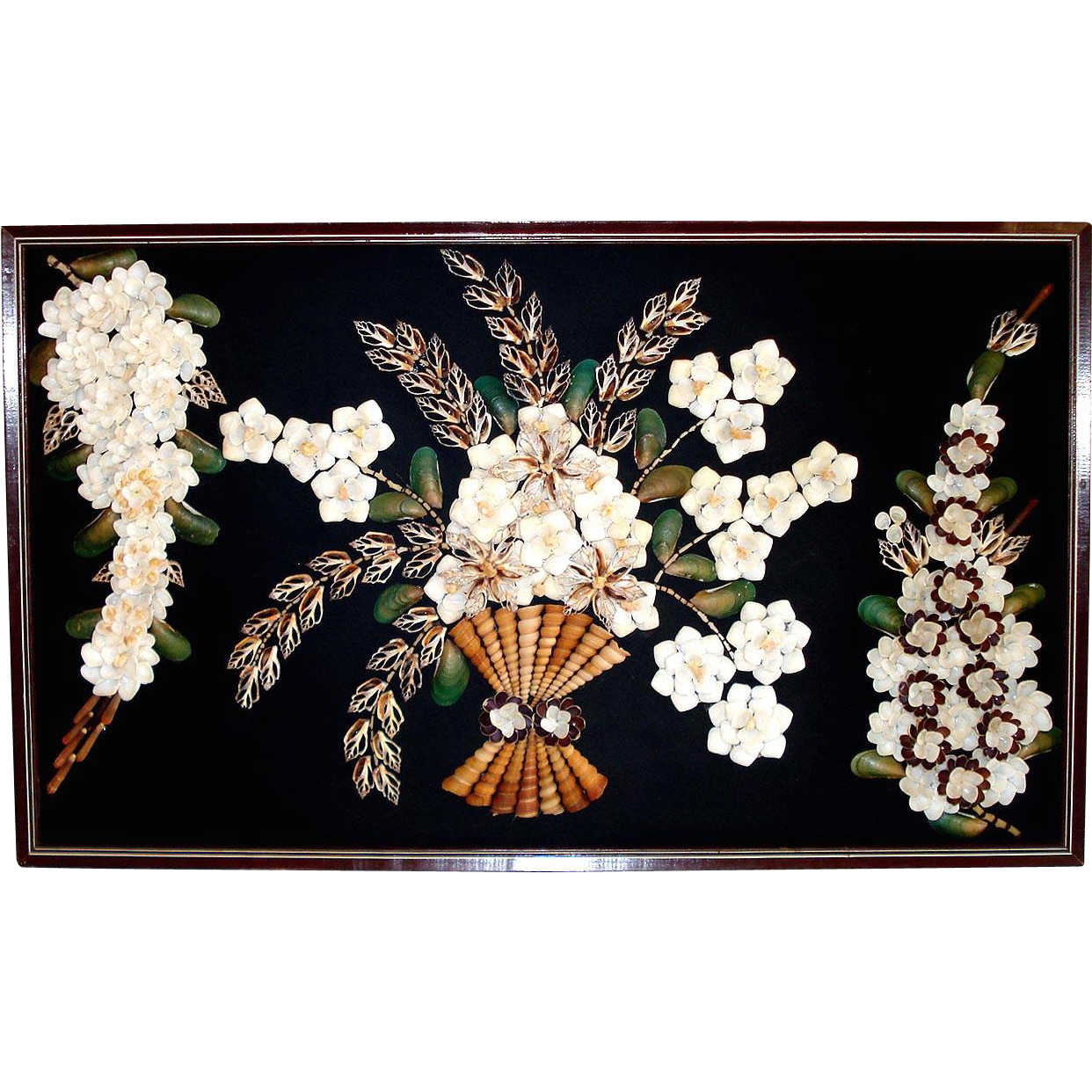 Large Framed Seashell Art Flower Wall Picture 32 x 19