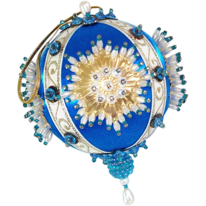 Blue White Gold Pin Beaded Sunburst Christmas Ornament