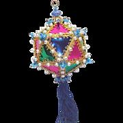 Beaded Colorful Harlequin Polygon Christmas Ornament