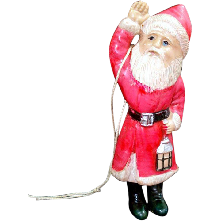 Celluloid Santa Claus With Lantern Christmas Figure