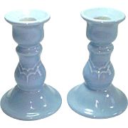 Pfaltzgraff Blue Gazebo Pair Candlesticks