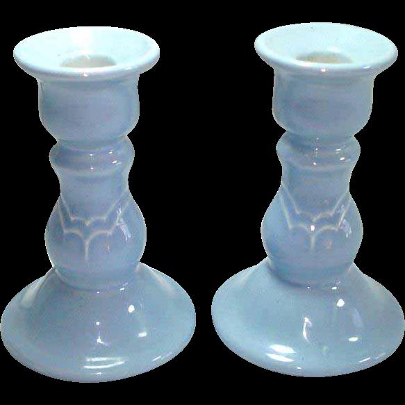 Pfaltzgraff Blue Gazebo Pair Candlesticks