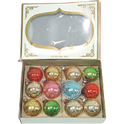 Box Shiny Brite Mini Mesh Covered Glass Christmas Ornaments