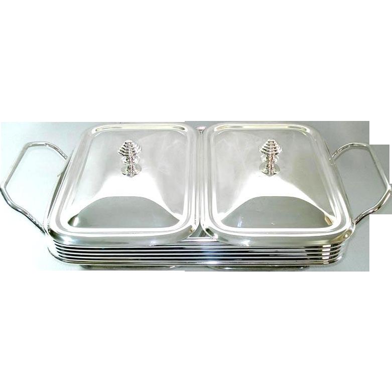 Silverplate Double Buffet Server Warmer Tray