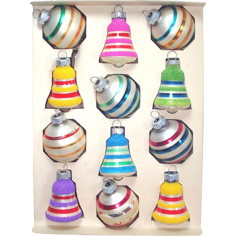 Box Shiny Brite Striped Christmas Ornaments Round, Bells