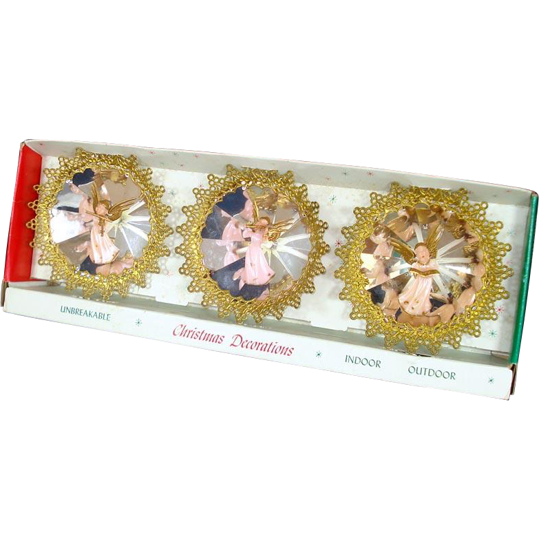 Box Jewel Brite Plastic Angels Lace Edge Christmas Ornaments