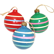 Christmas Unsilvered War Ornaments Opaque Primary Stripes