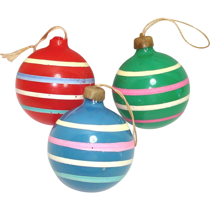 Christmas Decorations During Ww2 : Christmas unsilvered war ornaments opaque primary stripes