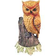 Bisque Owl on Stump 1960s Night Light Lamp