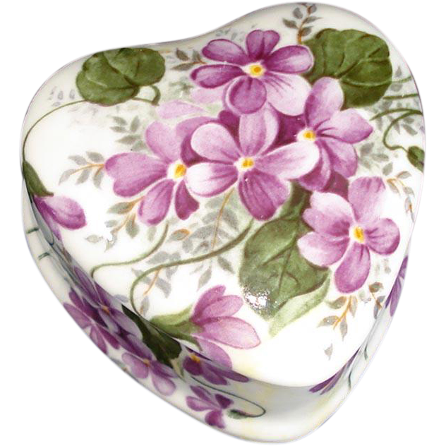 Bone China Violets Heart Shape Trinket Box
