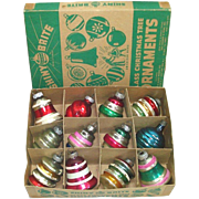 Box Shiny Brite Bells Lanterns Glass Christmas Ornaments