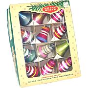 Box Shiny Brite Striped Bells Christmas Ornaments