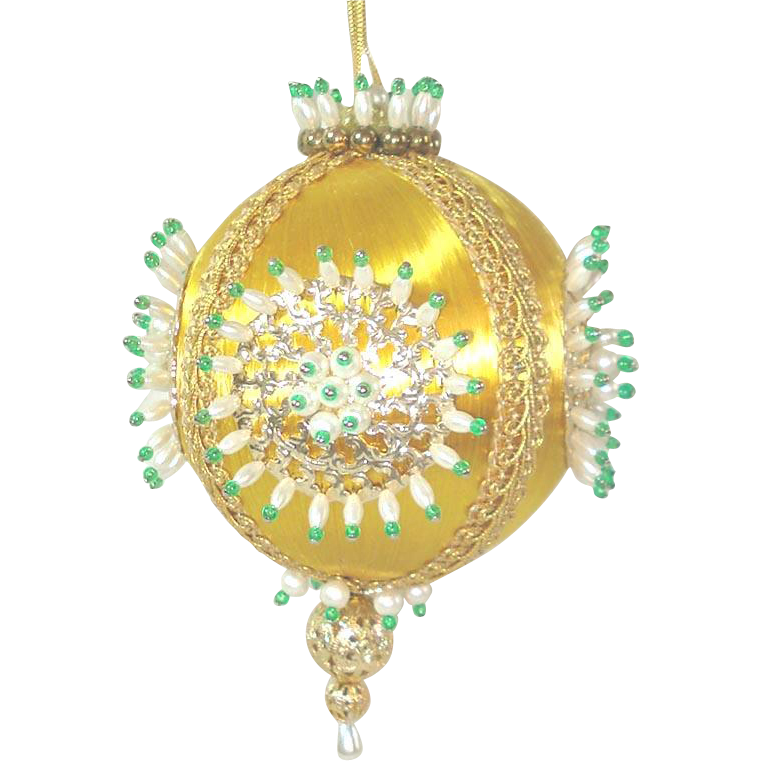 Gold White Green Elegant Pin Beaded Christmas Ornament
