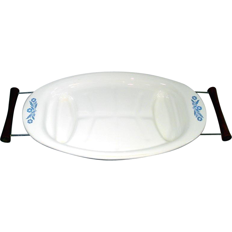 Corning Ware Cornflower Blue Meat Platter in Serving Cradle