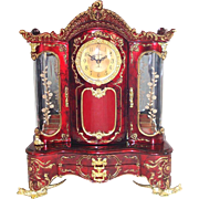 Ornate Asian Style Red and Gilt Jewelry Box With Clock