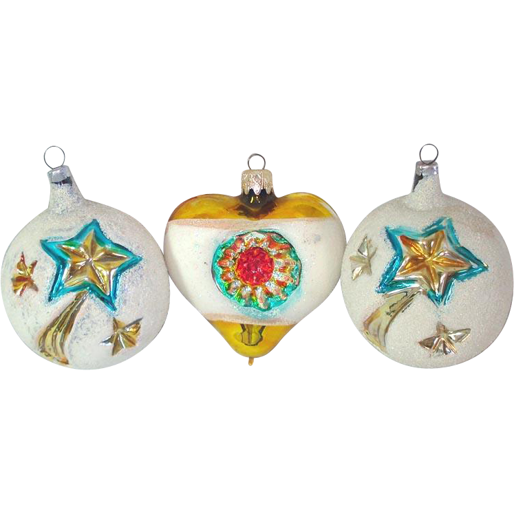 Shooting Star, Indent Heart West German Glass Christmas Ornaments