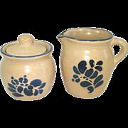Pfaltzgraff Folk Art Creamer and Covered Sugar Bowl