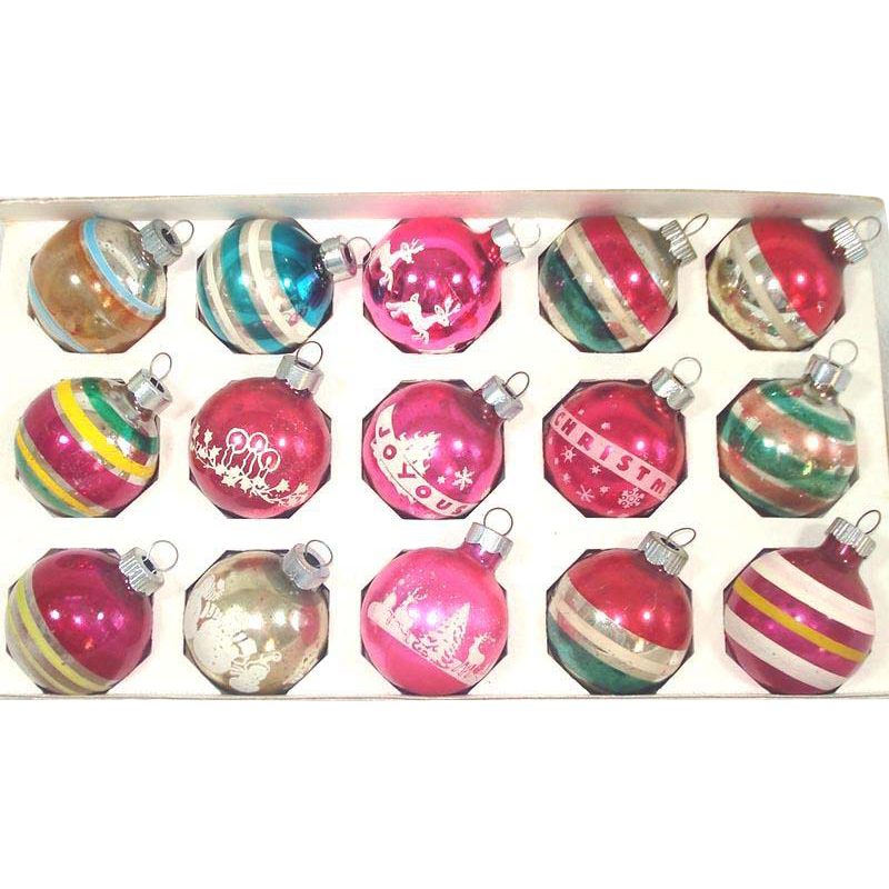 Box 15 Small American Made Glass Christmas Ornaments