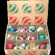 Box 1940s American Shapes Glass Christmas Ornaments