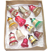 12 Germany Glass Clapper Bell Christmas Ornaments