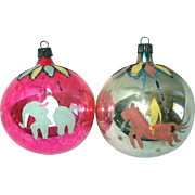 Poland Circus Carousel Theme Hand Painted Glass Christmas Ornaments