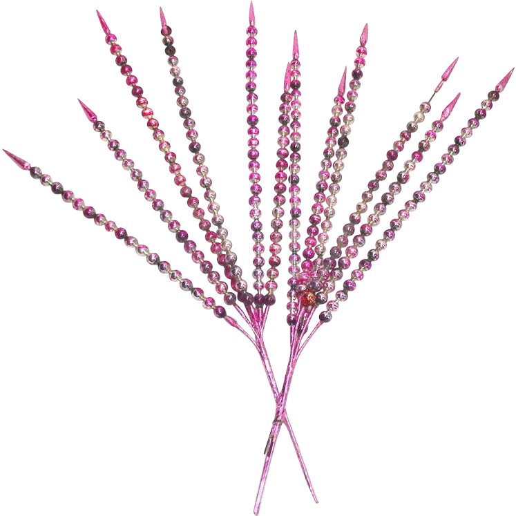 Pink Christmas Mercury Glass Wired Bead Spikes Sprays