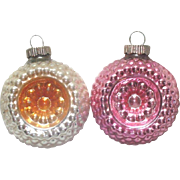 2 Shiny Brite Bumpy Flower Indent Glass Christmas Ornaments
