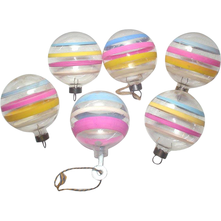 6 Unsilvered Pastel Stripes Christmas Glass War Ornaments