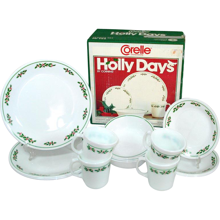 Corelle Holly Days Christmas 16 Piece Dinnerware Set in Original Box  Copperton Lane Antiques and Collectibles | Ruby Lane  sc 1 st  Ruby Lane & Corelle Holly Days Christmas 16 Piece Dinnerware Set in Original Box ...