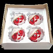 Box Funny Face Santa West German Glass Christmas Ornaments